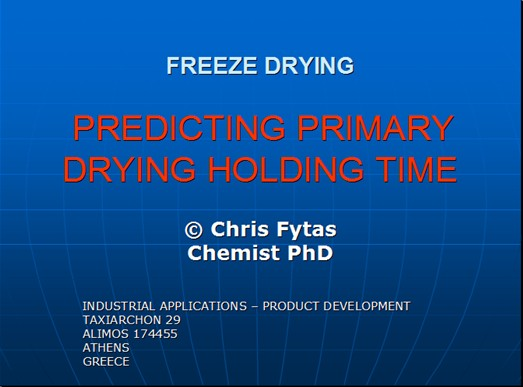 PREDECTING PRIMARY DRYING